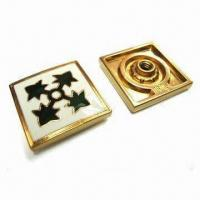 China Square Badges, Made of Lead-free Zinc Alloy Material, Artificial Enamel Epoxy Finishing wholesale