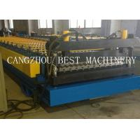 China Galvanized Corrugated Roofing Sheet Roll Forming Machine 6kw Power 1200mm Feeding Width on sale