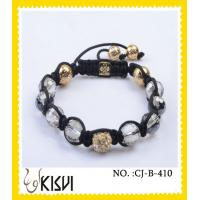 China High quality guarantee10mm crystal beaded bracelet plating with rhodium , gold wholesale