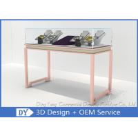 Buy cheap Gorgeous Rose Gold Stain Steel Glass Jewelry Showcases For Sale from wholesalers