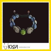 China OEM Exquisite Design CZ rhinestone beads Shamballa Crystal Bangle Bracelets wholesale