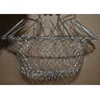 China Collapsible Deep Fryer Stainless Steel Mesh Basket , Wire Mesh Fry Basket wholesale
