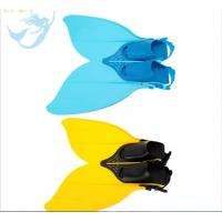 China Blue And Yellow Plastic Mermaid Monofin , Mermaid Feet Fins Anti - Skidding wholesale