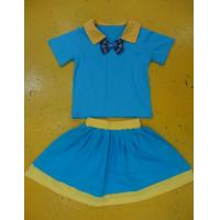 China Royal Blue And Mustard Children'S Cotton Pajamas Home Playwear Brother Sister 2pc Sets wholesale