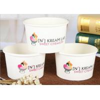 16oz Disposable Paper Ice Cream Cups With Lids Recyclable Logo Printed