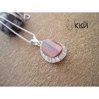 China Fashion Jewelry 925 Sterling Silver Gemstone Pendant with Red Zircon W-VB902 wholesale