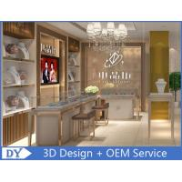 Quality OEM White Store Jewelry Display Cases With LED Light , Jewellery Showroom for sale