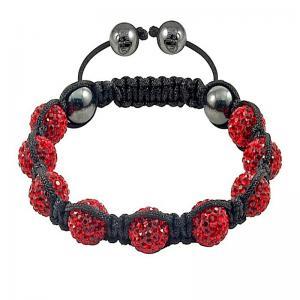 China Hot Selling 16mm Red Czech Crystal / hematite Fashion Shamballa Crystal Bangle Bracelets wholesale