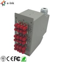 China 24 Ports Industrial DIN-Rail Fiber Patch Panel with 12pcs ST/PC SM Duplex adapters wholesale