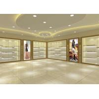 China Large Capacity Shoe Display Cabinet Wooden Material Decorated With LED Lights wholesale