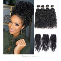 China Black Color Malaysian Curly Hair Bundles With Closure 100 Grams / Piece wholesale