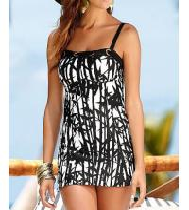 China Black white art printing women Tankinis swimwear made in China wholesale