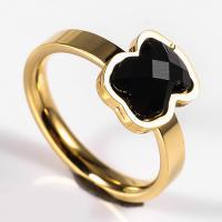 China New design Stainless steel Ring With Black Stone Ring Jewelry wholesale
