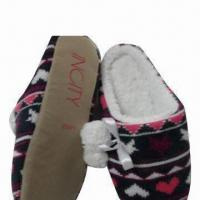 China Clear Striped Knittted Dance Slippers with Plush Profile wholesale