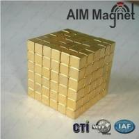 China 5 of GOLD Plated Block Magnets NdFeB / Neodymium wholesale