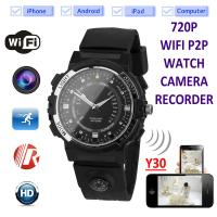 China Y30 8GB 720P WIFI P2P IP Spy Watch Hidden Camera Recorder IR Night Vision Motion Detection Remote Video Monitoring wholesale