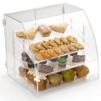 China Acrylic Food Display Case Irregular 300pcs with 3 Plastic Trays Curved Front wholesale