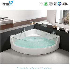 China Spa Classic Corner Jacuzzi Tub , Corner Whirlpool Tub With Transparent Glass Window wholesale