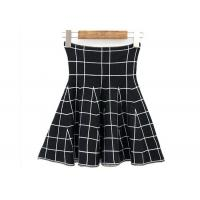 China High Waist Grid Pattern Girls Skater Skirt / Fashionable Plaid Mini Skirt wholesale