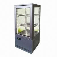 China 4 Sided Glass Door Beverage Display Cooler with Gray Powder-coated Exterior, CE/ETL/UL/RoHS Marks wholesale
