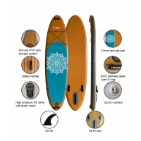 China Classic 10'6'' Wood Inflatable Stand Up Paddle Board With Full Accessories wholesale