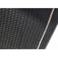 China Black Cotton Selvage Jeans Herringbone Denim Fabric W3692 12.1oz With Embroidery wholesale