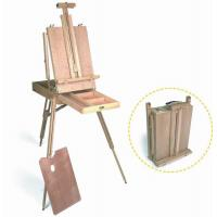China Wooden Painting Easel Art Stand , French Sketch Box Easel With Palette Belt Aluminium Tray wholesale