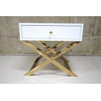 China White Painted Gold Hotel Bedside Tables With Polished Metal Base , 60% Sheen wholesale