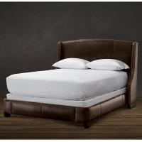 China Amply padded throughout Solid Oak Wood King Leather Bed with storage wholesale