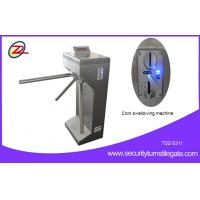 China Vertical Coin Operated Turnstiles , Electronic Controlled Access Turnstile Security Gates For Gym on sale