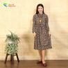 China Square Pocket Ladies Long Sleeve Dresses Flower Base Drawstring Waist Design wholesale