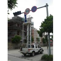Quality Hydraulic Aluminium Alloy Trailer Man Lift , Double Mast Trailer Mounted Boom Lift for sale