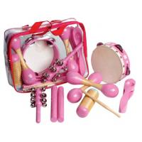 China 6 Pcs Pink Wooden Percussion Kids Musical Instrument , Customized Pattern wholesale