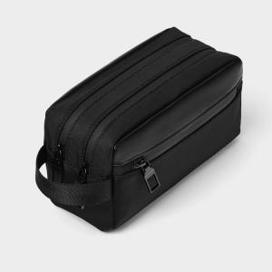 China Black PU 20x13cm Cosmetic Toiletry Bag Embossed Logo wholesale