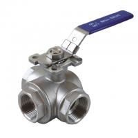 "China 1/2 to 2 inch Stainless Steel 304 316 flow Control ""T"" ""L""  3  way diverter ball valve with mounting pad wholesale"
