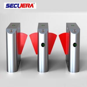 China Single lane Stainless Steel Gate access control turnstile system Fingerprint RFID card reader flap barrier wholesale