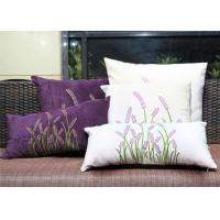 China Velvet Lavender Decorative Cushion Covers Embroidered Sofa Pillow Covers wholesale