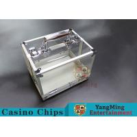 Quality 600PCS Double Open Handle Texas Chip Box / Aluminum Alloy Frame High Transparenc for sale