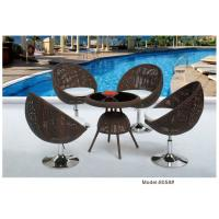 China 5-piece poly rattan wicker stainless steel base hotel dining set -8058 wholesale