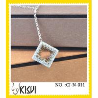 China 2012 hot selling square gold & black, crystal & 925 Silver handcrafted crystal necklace wholesale