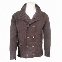 China IKRR Men's Woolen Jacket/Cardigan, Comfortable and Fashionable, Warm, Comes in Brown  wholesale