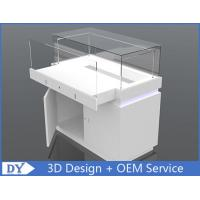 China Wood Rectangle Custom Glass Display Cases For Jewelry With Lights and Lock wholesale