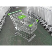 China 125L Supermarket Shopping Cart Zinc Plating 4 Inch Rubber Wheel wholesale