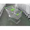 China 125L Supermarket Shopping Cart Zinc Plating 4 Inch Rubber Wheel wholesale