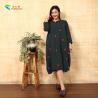 China Handmade Button Long Sleeve Long Cotton Dress Circular Collar Cutting Pattern wholesale