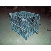 Quality Transport Welded Steel Wire Mesh Pallet Cage With Cover Lid Protection for sale
