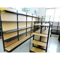 China Light Duty Metal And Wood Storage Shelves, Durable Metal Shelving With Wood Shelves on sale
