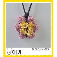 China Low MOQ flower fashion shamballa handcrafted crystal jewelry necklace with factory price wholesale