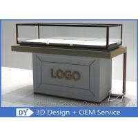 Quality Half Stain Steel Frame Glass Jewelry Display Case With Custom Logo for sale