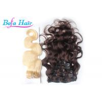 China Bright Red / White 14 Inch Clip In Hair Extension Brazilian Body Wave Hair Bundles wholesale